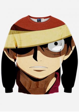 Printed Long Sleeve O-Neck Sweatshirt