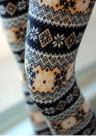 Christmas Snowflake Printed Skinny Leggings