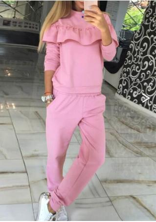 Solid Flounce Splicing Sweatshirt and Pants Set