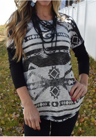 Geometric Printed Splicing Blouse Without Necklace