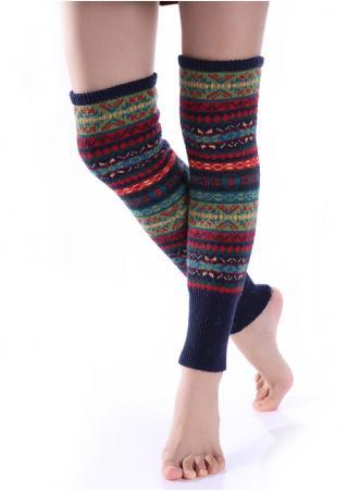 Geometric Knee-High Knitted Socks