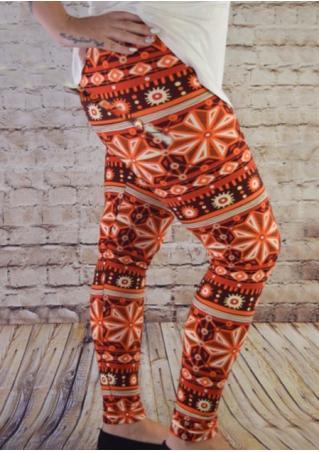 Geometric Printed Stretchy Skinny Causal Leggings