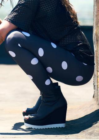 Polka Dot Printed Stretchy Skinny Leggings