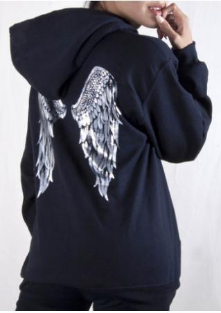 Wings Printed Kangaroo Pocket Drawstring Hoodie