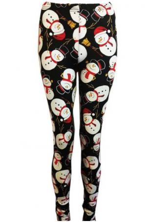Christmas Snowman Printed Skinny Leggings