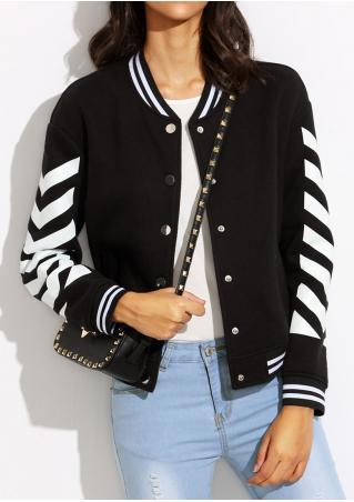 Striped Printed Button Coat