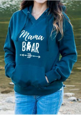 MAMA BEAR Printed Casual Hoodie