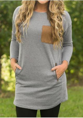 Elbow Patch Pocket Long Sleeve Blouse