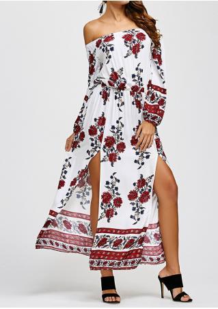 Floral Slit Slash Neck Maxi Dress