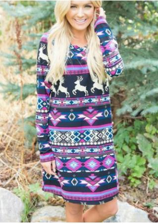 Christmas Reindeer Printed Casual Dress