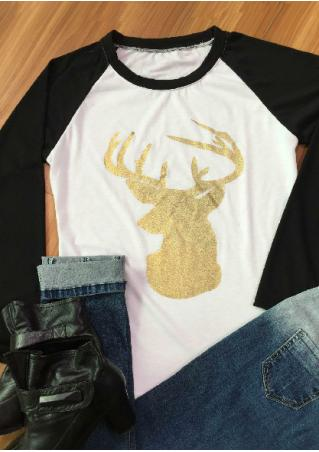 christmas reindeer printed splicing casual t shirt bellelily