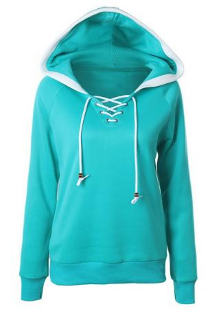 Lace Up Drawstring Hoodie