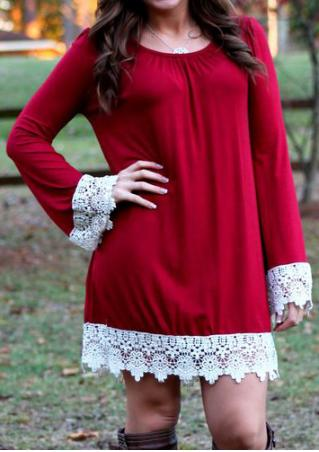 Lace Splicing O-Neck Casual Dress