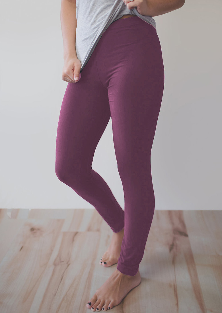 Solid Stretchy Leggings Bellelily