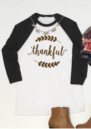 Thankful Printed Splicing T-Shirt Without Necklace