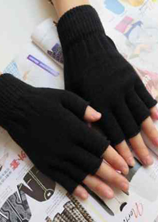 Black Crochet Fingerless Gloves