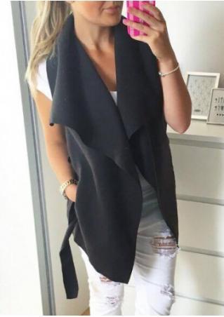 Solid Asymmetirc Sleeveless Jacket With Belt