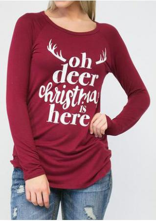 Christmas Letter Printed Long Sleeve T-Shirt