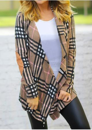 Plaid Elbow Patch Asymmetric Casual Cardigan