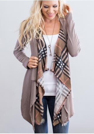 Plaid Splicing Asymmetric Cardigan without Necklace