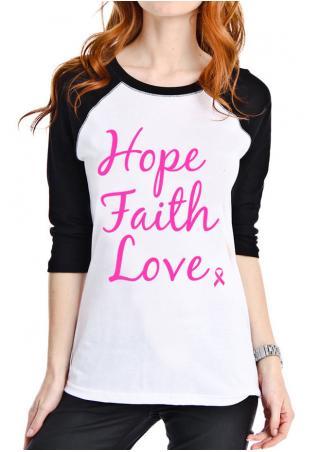 Hope Faith Love Printed T-Shirt