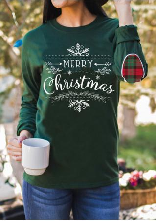 Christmas Letter Printed Elbow Patch Sweatshirt