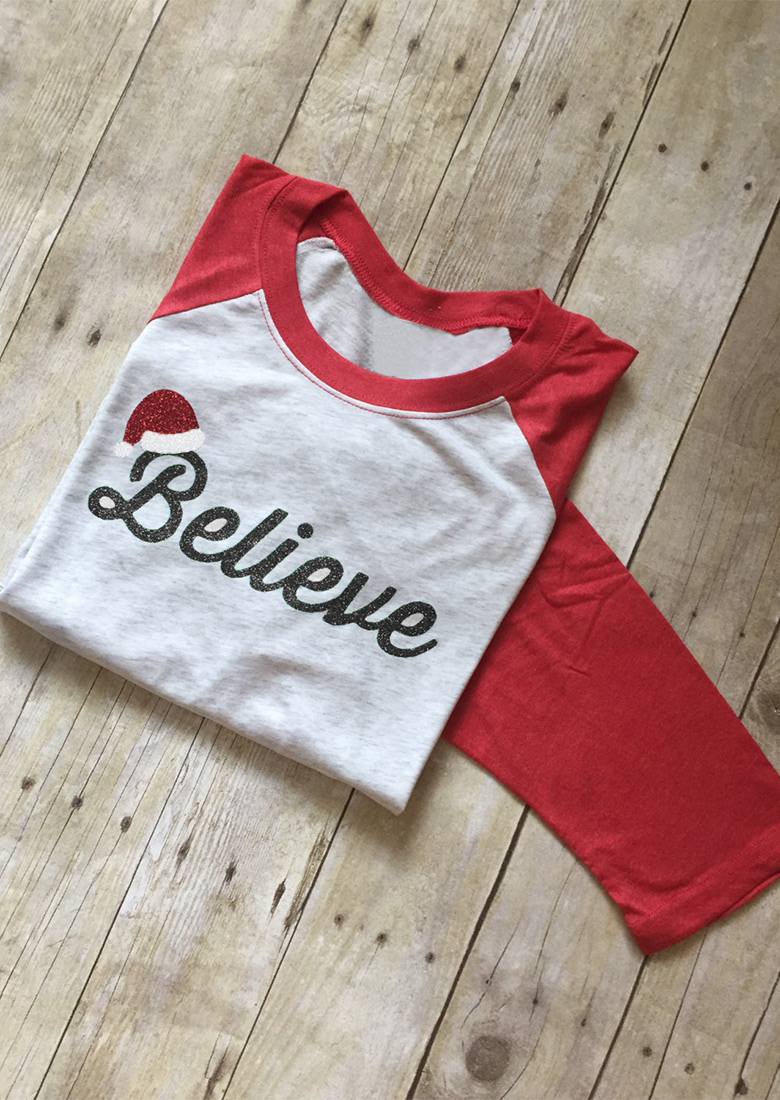 Christmas Believe Printed Splicing T Shirt Bellelily