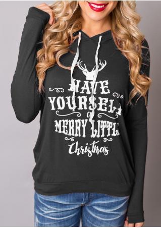 Christmas Reindeer Printed Hoodie