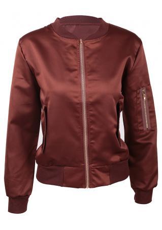 Solid Zipper Long Sleeve Jacket