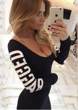 Letter Printed Back Hollow Out Bodycon Dress