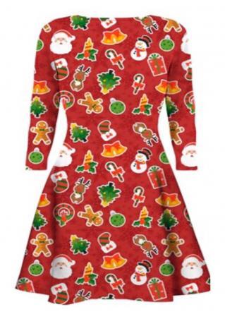 Christmas Printed O-Neck Dress