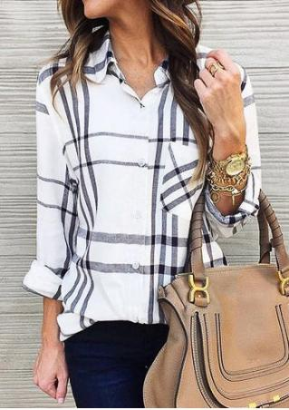 Plaid Asymmetric Button Shirt