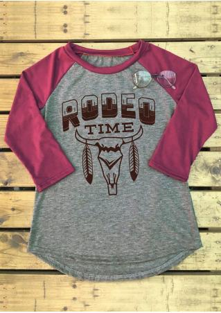 RODEO TIME Cattle Printed Asymmetric T-Shirt