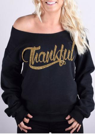 Thankful Printed Slash Neck Sweatshirt
