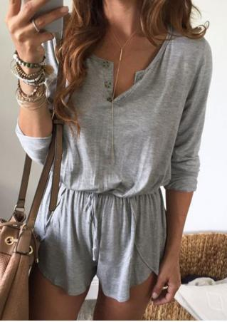 Solid Botton Long Sleeve Romper