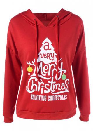 Christmas Tree Letter Printed Long Sleeve Hoodie