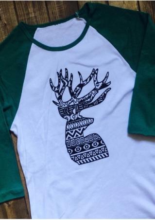 Christmas Reindeer Printed Splicing T-Shirt