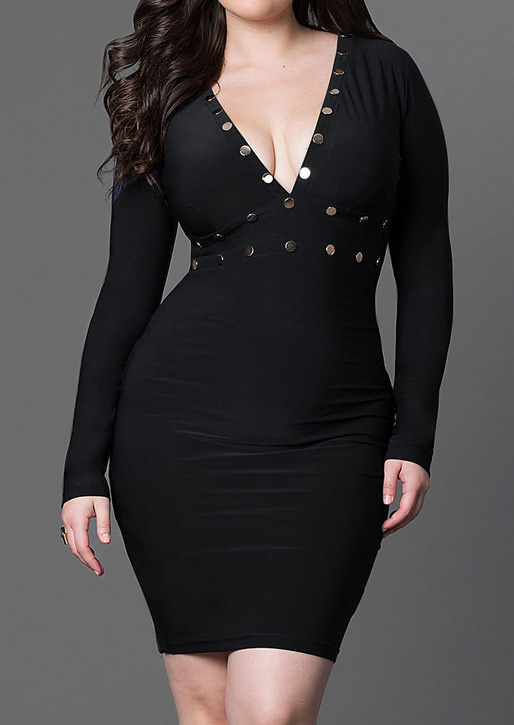 Solid Deep V-Neck Plus Size Bodycon Dress