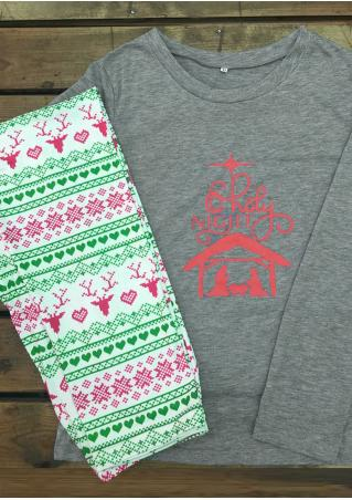 Christmas Reindeer Letter Printed T-Shirt and Leggings Set