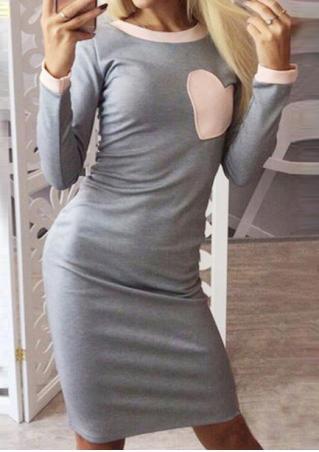 Heart Splicing Long Sleeve O-Neck Dress