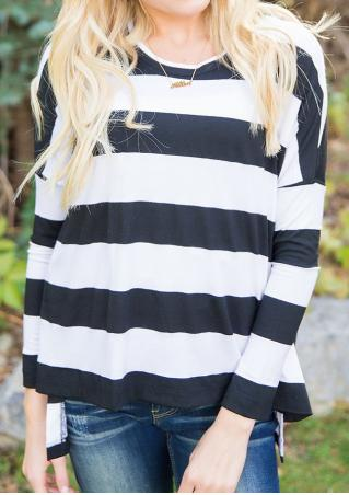 Striped Asymmetrical Long Sleeve Blouse Without Necklace