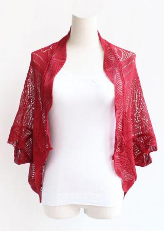 Solid Batwing Sleeve Knitted Cardigan