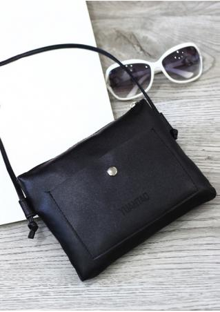 Solid Zipper Square Shoulder Bag