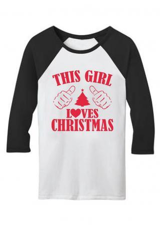 Christmas Printed Splicing Three Quarter Sleeve T-Shirt