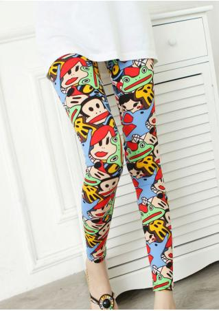 Frog Monkey Printed Stretchy Leggings