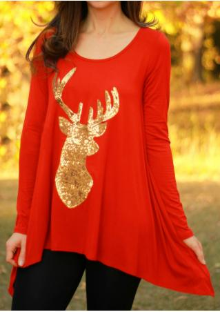 Christmas Sequined Reindeer Printed Blouse