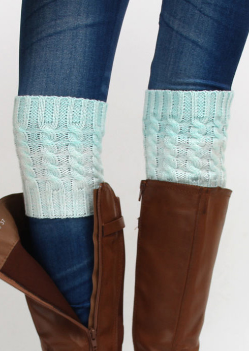 Two-Color Splicing Knitted Boot Socks