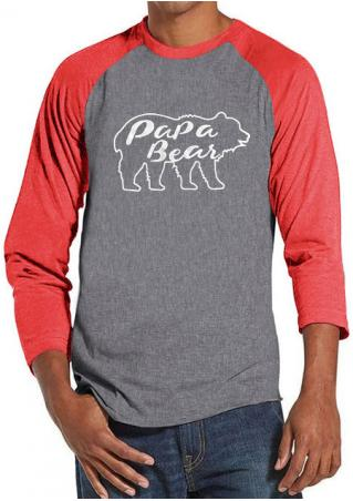 PaPa Bear Printed Splicing T-Shirt