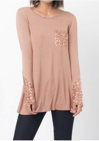 Sequined Pocket Long Sleeve O-Neck Blouse