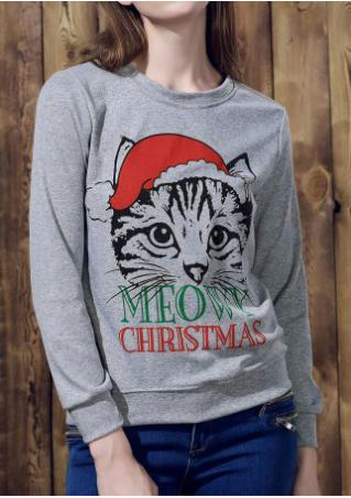 MEOWY CHRISTMAS Cat Printed Sweatshirt